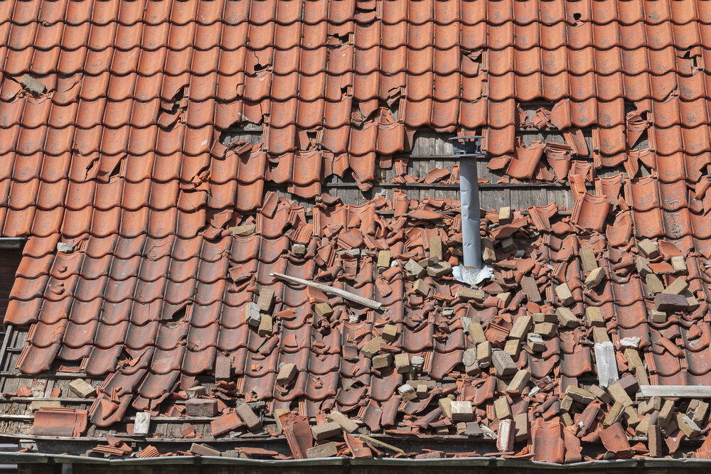 major hail damage to a roof