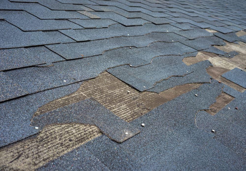 Close up view of bitumen shingles roof damage that needs repair.
